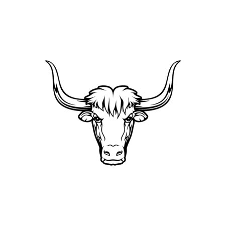 Wild domestic yak head isolated icon. Vector large bovid, domesticated wild ox animal mascot of hunting sport. Bull muzzle portrait, animal with curved horns, mountain himalayan tibetan animal