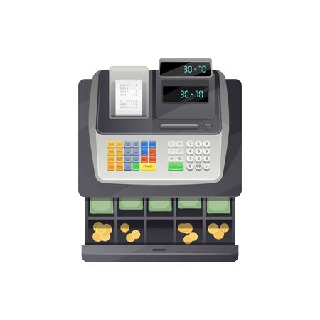 Open drawers of cash register full of money banknotes and coins isolated counting device. Vector payment equipment with currency in shop or store, electronic checkout device printing paper bill