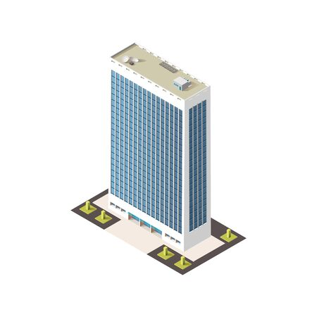 Tall tower house isolated business center estate. Vector real estate downtown city architecture unit. Modern business office, expensive hotel or bank. Corporate structure, metropolis apartment