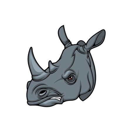 Rhinoceros with tusk isolated african animal head side view. Vector safari rhino hand drawn icon, savanna nose-horned mammal. Rhinocerotidae, profile of rhino, endangered animal, hunting club mascot Иллюстрация