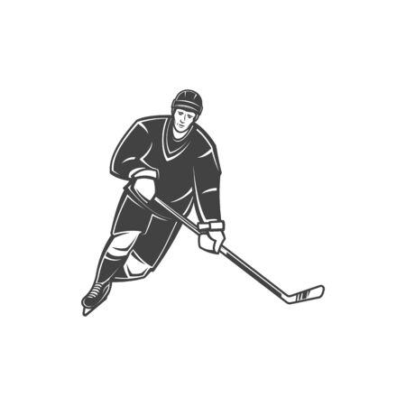 Player of ice hockey sport game, man in black uniform in motion going to score goal. Vector defender in protective helmet and gloves, athlete with stick. Forward of winter sport game goalie goalkeeper Ilustração Vetorial