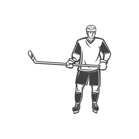 Defender ice hockey player in protective uniform isolated professional athlete with stick. Vector forward of winter sport game, goalie goalkeeper on rink or arena stadium. Adult ice-hockey character