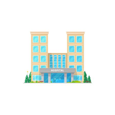 City hospital building exterior with trees isolated icon. Vector medical healthcare center, emergency facade, multi store building design. Ambulance and rescue generic laboratory, urgent campus Ilustração