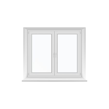 Two-flap plastic window isolated icon. Vector two layered modern office window, object of glass and metal construction. Double windows, home interior element, two-panes closed traditional windows
