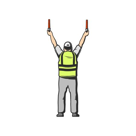 Air traffic controller holding light signs in hands isolated man in uniform back view. Vector ground crew in signal vest, airport worker, aviation marshal supervisor meets passenger airplane aircraft