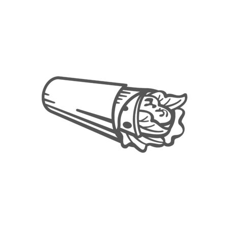Burrito, grilled tortilla with meat and vegetables isolated monochrome icon. Vector mexican rolls with chicken or beef, tomatoes and greens. Shaurma or shawarma street takeaway takeout food