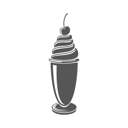 Ice cream in glass, sweet swirl topped by cherry isolated hand drawn monochrome icon. Vector summer dessert. Whipped ice-cream, yummy chocolate or vanilla icecream with fresh berry, cocktail