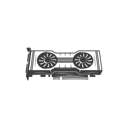Game graphics card isolated video card icon. Vector display or graphics adapter, expansion card which generates feed of output images to display device computer monitor. Graphics processing unit GPU Ilustração