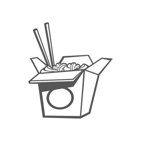 Noodles and sticks in box isolated chinese food. Vector udon stir fry noodles with chicken and pair of chopsticks. Open takeout box with street food, takeaway fast food snack in black and white