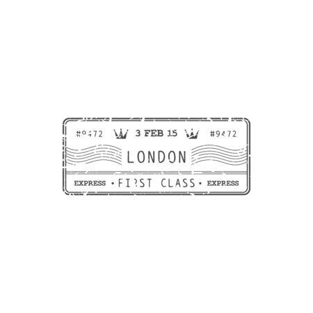Air mail of UK, royal post isolated London stamp with express first class delivery sign. Vector grunge icon, postmark. Postal correspondence transportation, rubber ink of parcels control, vintage seal