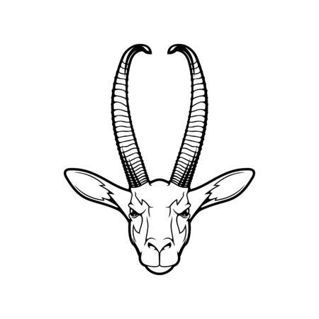 Tête d'animal isolée d'antilope, de chèvre sauvage ou de gazelle. Mascotte de sport de chasse vectorielle, antilope de zibeline ou gerenuk, gazelle girafe, chèvre à long cou avec des cornes. Safari ou proie de savane, animal sauvage
