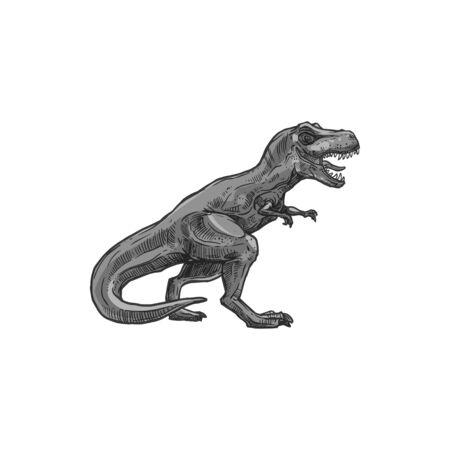 T-rex isolated Tyrannosaurus dinosaur isolated gray dino sketch. Vector Parasaurolophus, Tyrannosauridae or tyrannosaurids, tyrant lizards. T-rex, theropod hand drawn extinct animal of Jurasic period