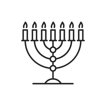 Seven candles Hanukkah Menorah isolated line art. Vector jewish candlestick, Judaism symbol candelabra. Seven-branched menorah used in ancient Temple in Jerusalem. Retro candelabrum of Jewish religion Ilustracja