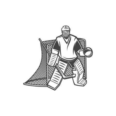 Ice hockey goalkeeper near net with puck and stick isolated monochrome player. Vector keeper blocking or intercepting opposing shots on goal, goalie. Netminder in protective helmet and suit