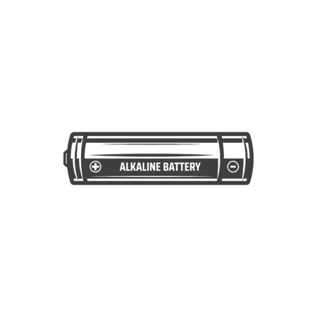 Alkaline battery isolated monochrome icon. Vector primary triple-A battery deriving energy from reaction between zinc metal and manganese dioxide. Double A, penlite Mignon AA cell with plus and minus