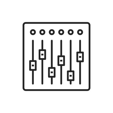 Sound mixer controller isolated outline icon. Vector audio mixing console, dj equipment slider buttons. Folders and adjusting knobs, linear electronic device. Sound recording and reproduction system