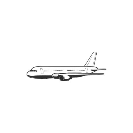 Airplane isolated passenger plane icon. Vector civil air transport, commercial aircraft , avia transportation item side view. Travel by sky airplane, turbo airplane with turbine. Aviation and airlines