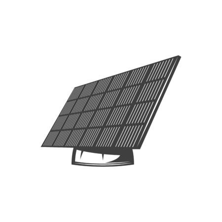 Solar panel generates pure electricity isolated monochrome icon. Vector green energy battery, sun power generator. Photovoltaic cells PV module use sunlight a and generate direct current electricity