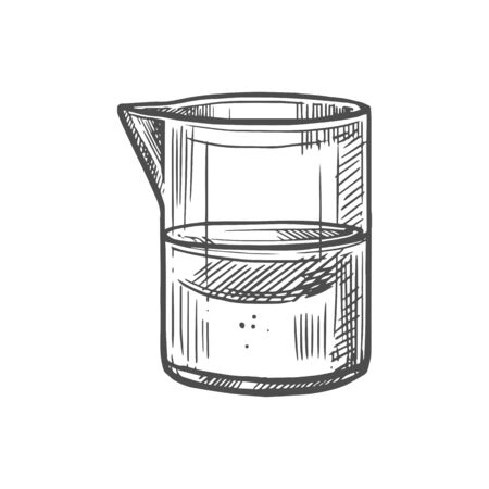 Measuring cup or chemical jug with transparent liquid isolated monochrome sketch icon. Vector plastic or glass beaker flask with water, biology or chemistry reservoir with toxic fluid. Lab container