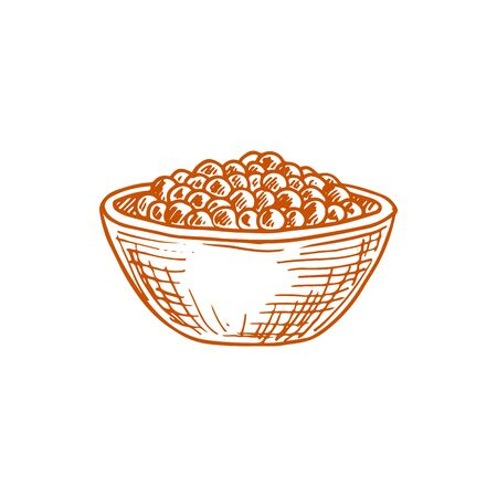 Bowl of peppercorn seasonings isolated sketch. Vector all spices pepper condiment, seeds mix