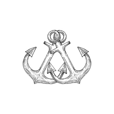 Ship anchor isolated nautical object mooring vessel to sea bottom. Vector maritime navigation crossed ankers  イラスト・ベクター素材