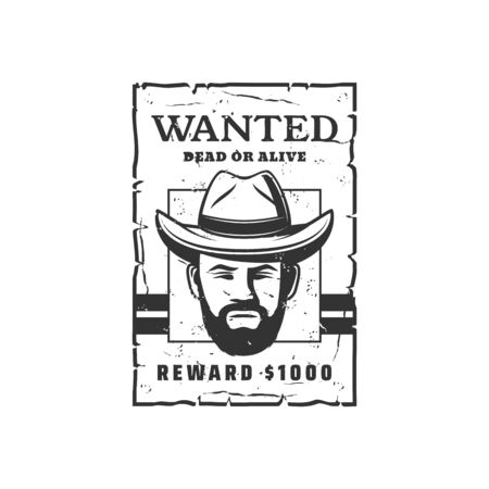 Wanted alive or dead, leaflet with bandit. Vector bearded robber in hat, award