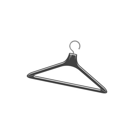 Wooden hanger isolated monochrome icon. Coat or clothes hanger, metal hook to hang jacket or cloth. Vector coathanger, empty wood object to hang apparel. Coathanger device in shape of shoulders Banque d'images - 144166478