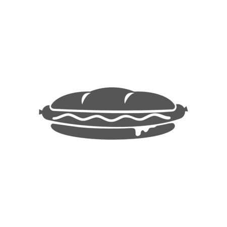 Bun with sausage isolated hotdog fastfood snack monochrome icon. Vector hot dog with mustard, mayonnaise or ketchup sauce, takeout meal. Takeaway street food drawing, bread with grilled wiener