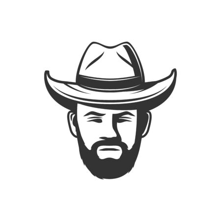 Bearded man in hat, isolated head of american sheriff or bandit. Vector monochrome cowboy