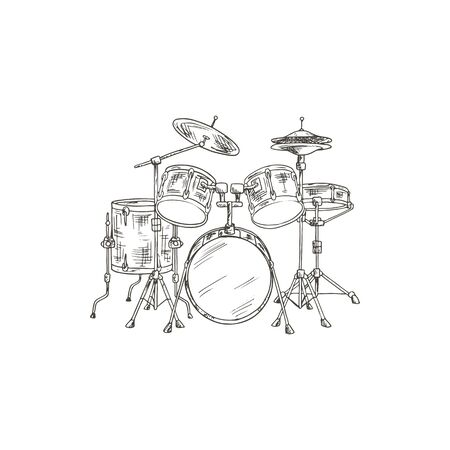 Trap or dram set isolated percussion instrument sketch. Vector kit, bass drums, cymbals drumming equipment