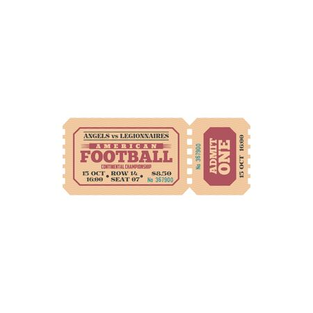 American football game retro ticket isolated vector icon. Angels vs Legionnaires championship cup sport match admit one coupon template. competition event vintage invitation