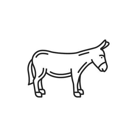 Donkey isolated linear monochrome animal icon. Vector mule or small horse, farm pony Vettoriali