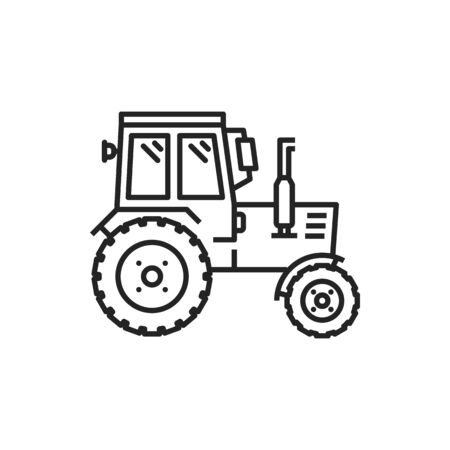 Tractor isolated agricultural machinery icon. Vector farm truck, heavy machine to work on field