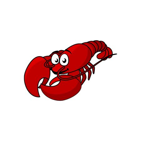 Fresh red boiled cartoon lobster isolated crustacean. Vector crayfish with claws, seafood