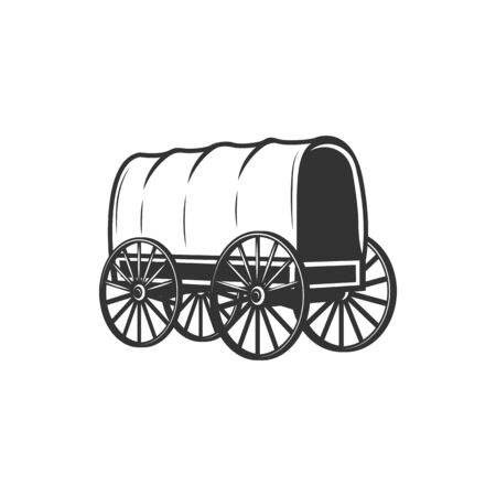 Covered wagon isolated indians carriage transport. Vector ancient western cart on wooden wheels