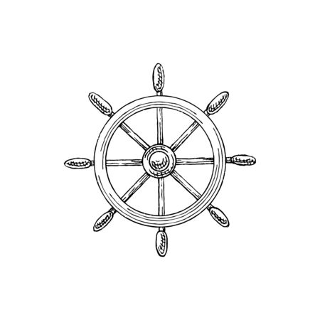 Steering ship wheel isolated marine sketch. Vector navigation equipment symbol, hand wheel with handles