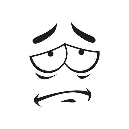Frustrated emoji emotion upset emoticon smiley. Vector sad depressed smiley, line art sorrowful face
