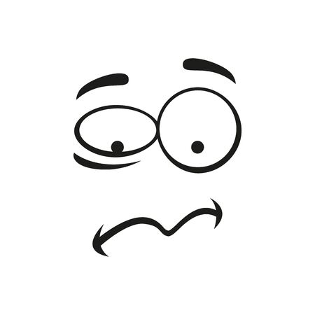 Upset emoticon isolated troubled emoji. Vector disturbed anxious expression of smiley, line art