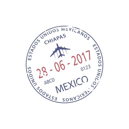Chiapas airport visa stamp isolated Mexico border control sign. Vector entry admission in passport