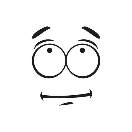 Unsure puzzled face expression isolated indifferent emoticon. Vector shy emoji, confused emotion