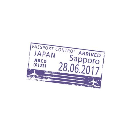 Sapporo airport passport control in Japan isolated visa stamp. Vector arrived sign, plane and date