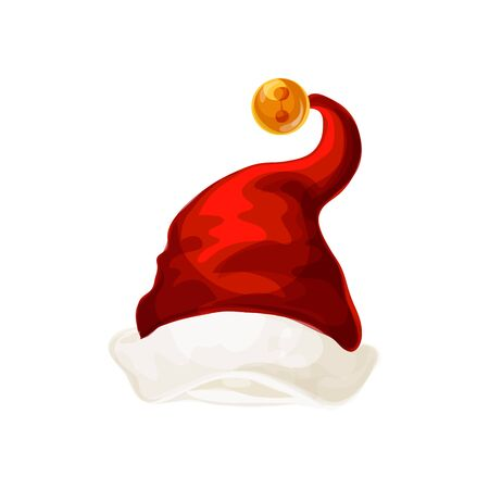 Santa Claus hat with yellow pompom isolated. Vector New Year headdress, Christmas headwear, red and white color cap