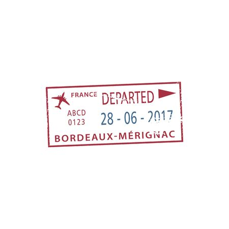 Official departure stamp to Bordeaux-Merignac airport isolated. Vector France seal with date