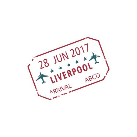 Official arrival stamp to Liverpool UK isolated. Vector immigration seal, Liverpool John Lennon Airport, LPL Vettoriali