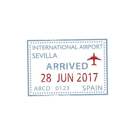 Arrived to international airport Sevilla isolated stamp. Vector travel to Spain, date and plane