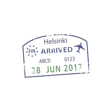 Helsinki airport arrival sign on isolated visa stamp. Vector Finland border passport control grunge pass