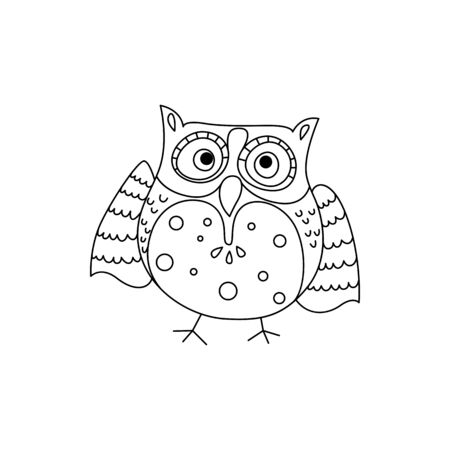 Owlet or young tired owl isolated outline bird. Vector feathered animal, wisdom symbol