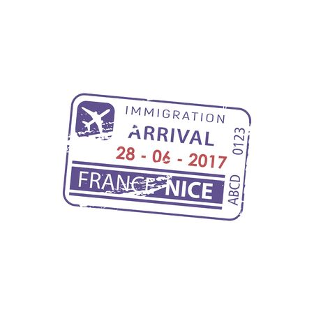 Nice, France immigration arrival visa isolated stamp. Vector border passing passport control document Illustration