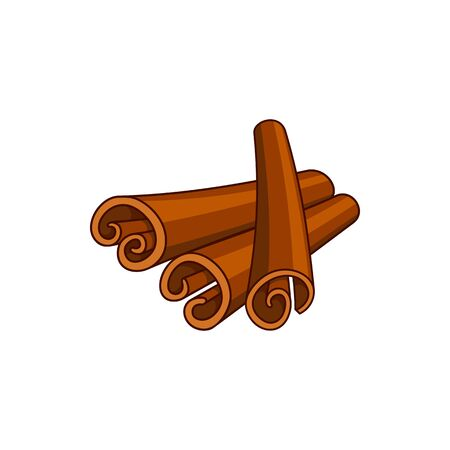 Rolled cinnamon sticks isolated culinary condiment.