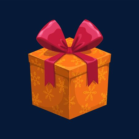 Orange square gift box with snowflakes isolated. Vector 3D Christmas present with pink bow